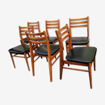 Ensemble de 6 chaises style scandinaves bois et skaï, 1960