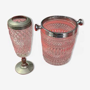 Seau à champagne et fontaine assortie en cristal