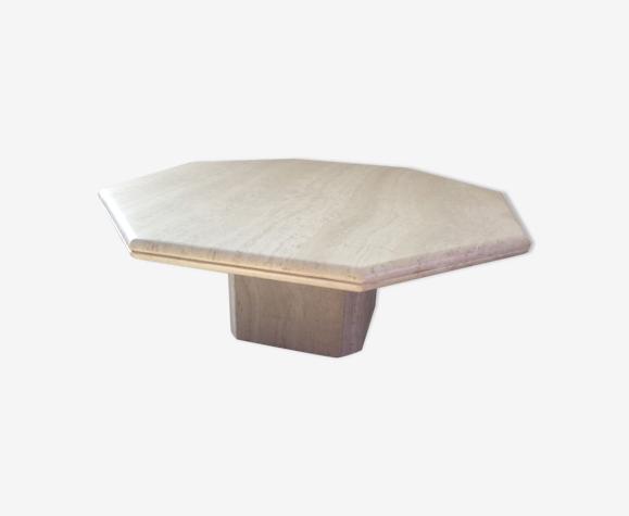 Table basse octogonale en travertin