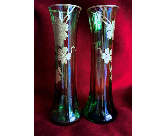 Soliflores verre soufflé vert imperial style empire peint main napoleon iii emeraude et or 1900 arti