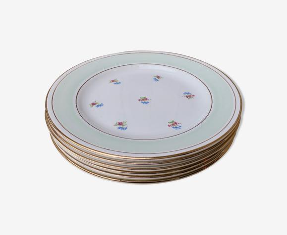 6 assiettes anciennes plates fleuries rebord mint