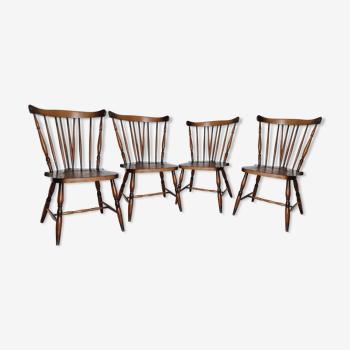 Ensemble de 4 chaises bistrot anglaises vintages