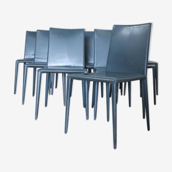 Ensemble de 8 chaises à manger italiennes d'Arper