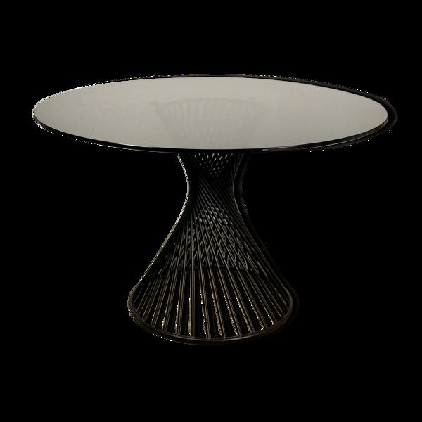 Table de repas ronde pieds fer noir, plateau verre fumé gris Italy Calligaris