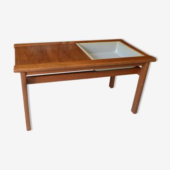 Jardinière scandinave table basse teck années 60