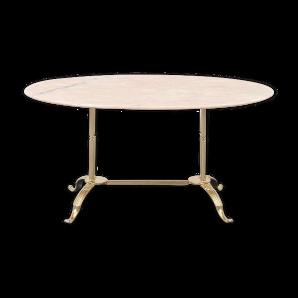 Selency Table basse italienne en acier et marbre rose du milieu du siècle