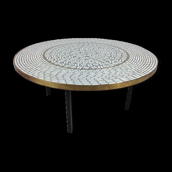 Selency Table ronde de café en mosaïque par Berthold Muller années 1950