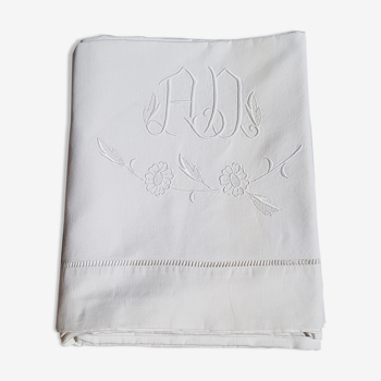 Embroidered AD monogram sheet