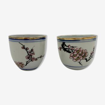 Deux tasses à thé en porcelaine, Asie, XXème siècle