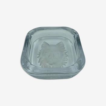 Cendrier en cristal tete de chat Sevres France en verre depoli 1950