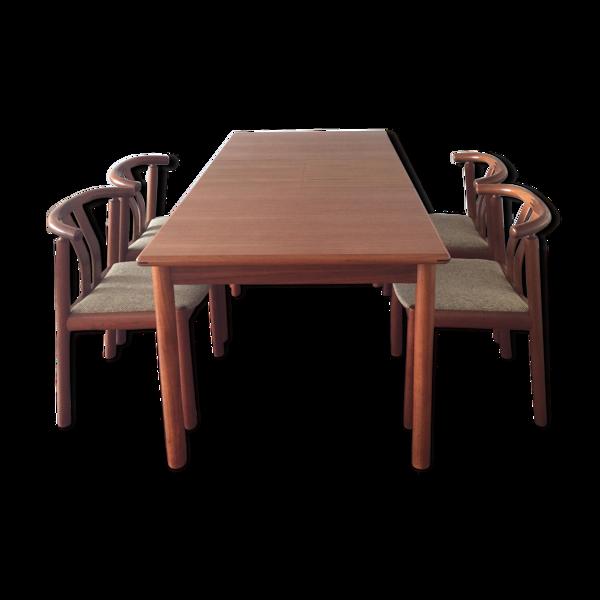 Table danoise 60's et 6 fauteuils de table
