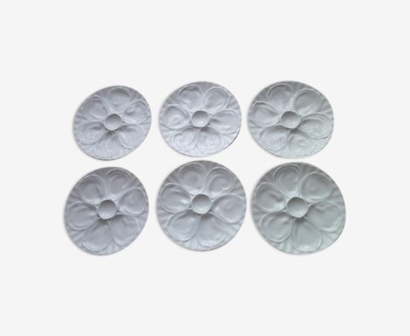 """Set de 6 assiettes à huitres en porcelaine blanche """"L'Hirondelle """""""