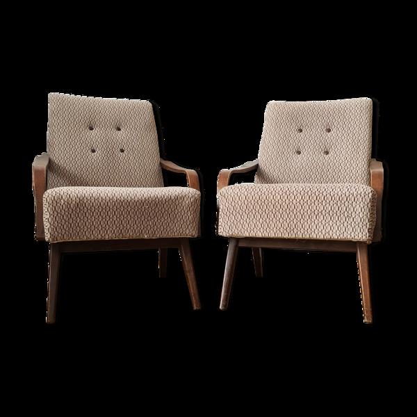 Lot de deux fauteuils vintage gris/marron - années 1960