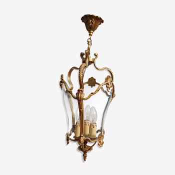 Lustre lanterne ancienne en bronze