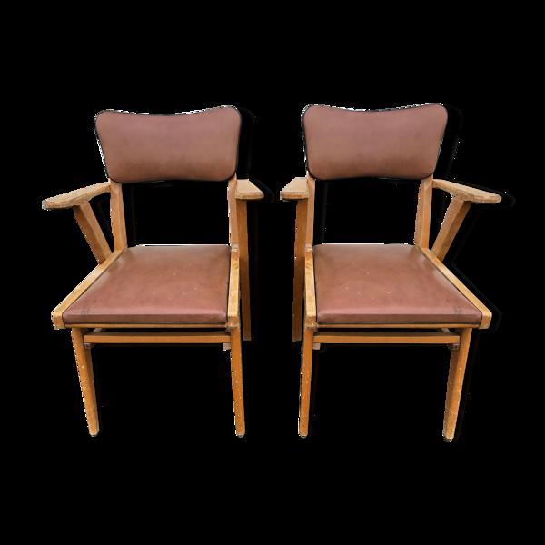 Paire de fauteuils bridges années 50