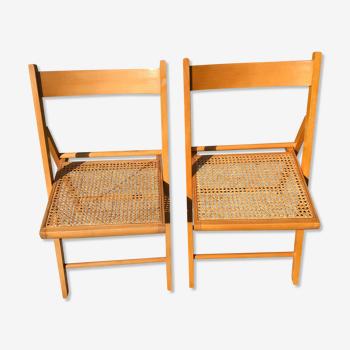 Lot de chaises cannées pliantes vintage