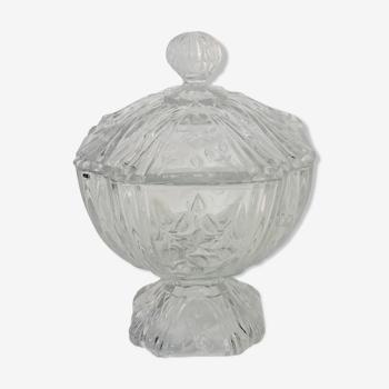 Bonbonnière en verre décor fleuri