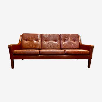 3-seater leather sofa Scandinavian design 1950.