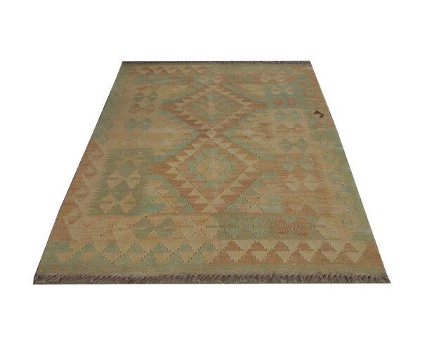 Handmade Cream Wool Kilim Traditional geometric Oriental Area Rug- 83x105cm