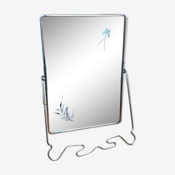 Miroir barbier gravé sur support inclinable