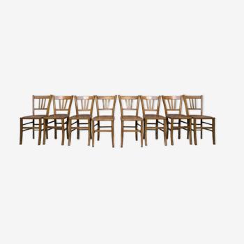 Série de 8 chaises en bois bistrot brasserie Lutherma