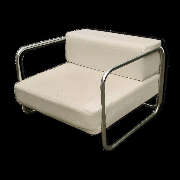 Fauteuil chromé et simili cuir blanc 1970