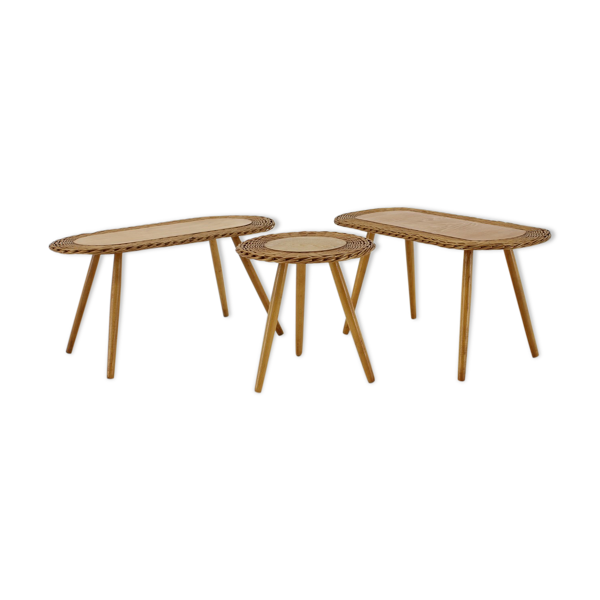 Selency Lot de 3 tables, Tchécoslovaquie, 1970