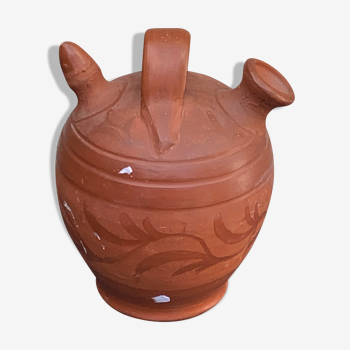 Gargoulette, en terre cuite motif feuillage