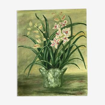 Tableau ancien fleurs blanches