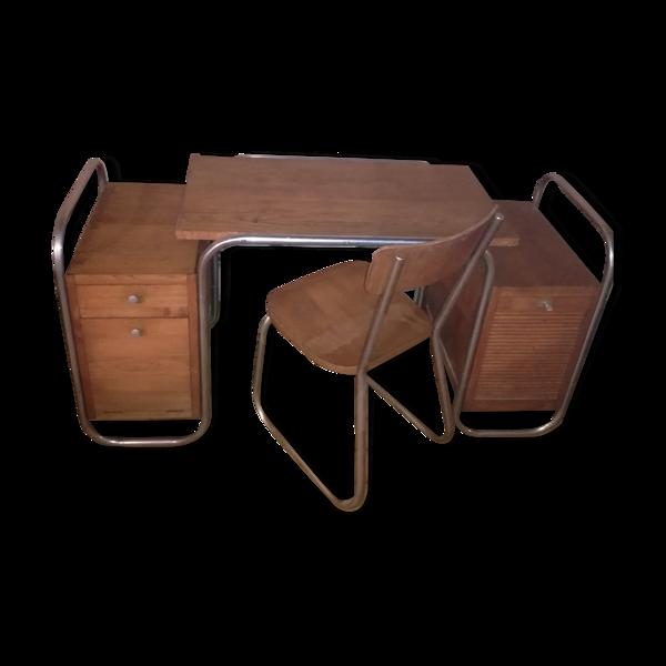 Selency Bureau style Bauhaus avec chaise 1950