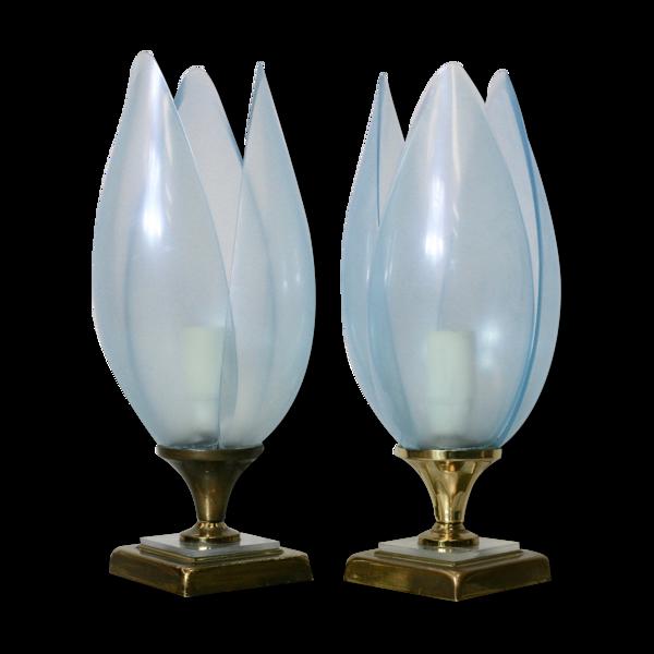 Paire de lampes bleues éditées par Rougier France circa 1970