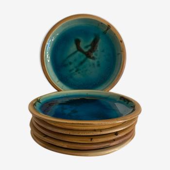 Set de 6 assiettes à dessert en céramique émaillée bleue La Poterie de la Colombe