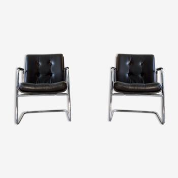 Paire de fauteuils italiens cantilever