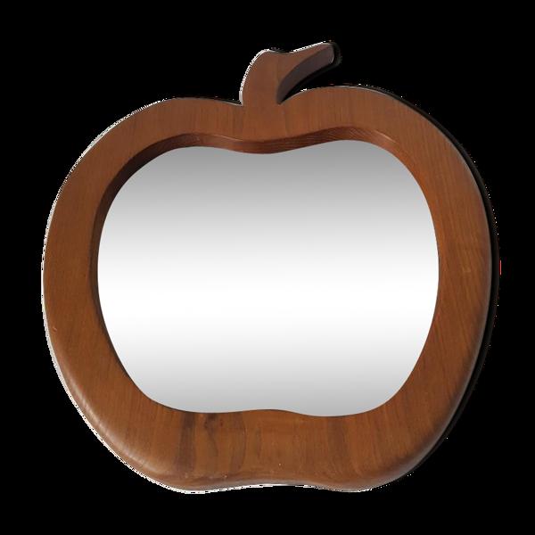 Miroir bois forme pomme, design années 70, 55x60cm
