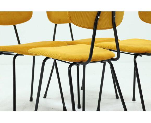 Set de 4 chaises de salle à manger Kembo rembourrées en corde nervurée jaune 1950