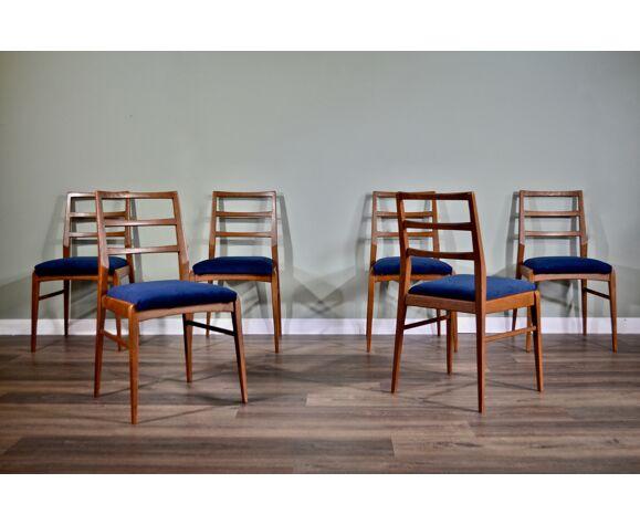Set Of 6 Midcentury Richard Hornby Pour Heals Fyne Ladye Afromosia et Velvet Chairs. Vintage / Danis