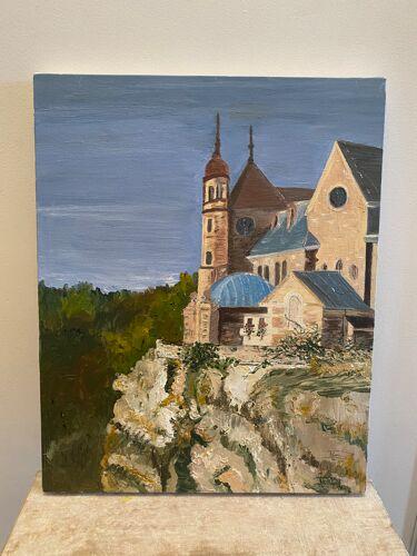 Huile sur toile village perché avec église