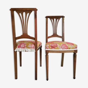 Duo de chaises en bois anciennes retapissées