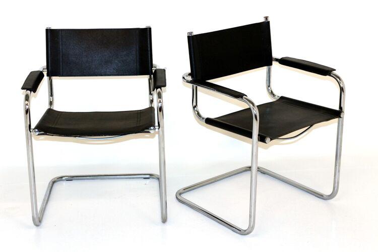 Set de 2 fauteuils en cuir, 1990