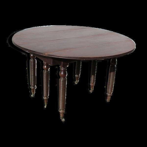 Table ronde à abattant 6 pieds extensible en acajou