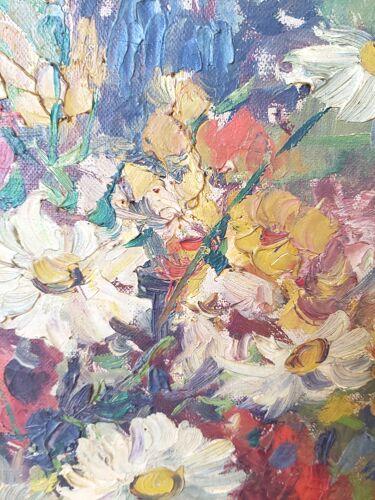 Tableau d'un bouquet de fleurs sauvages, nature morte, signé,  XXe siècle