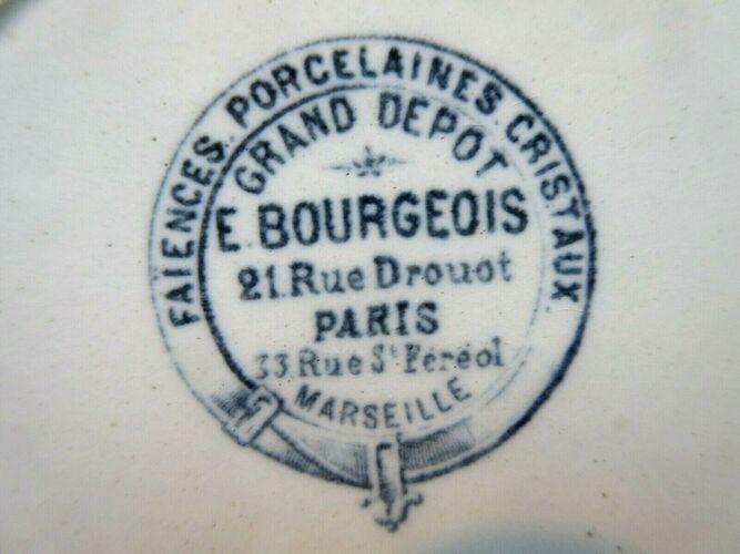 Assiette Grands Dépôts de Paris Bourgeois, fleurs de pommier