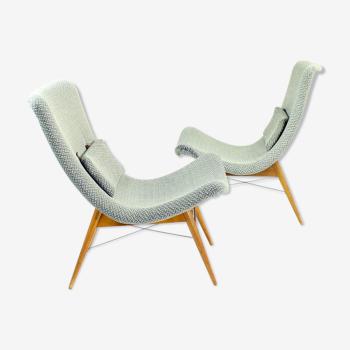 Pair Of Lounge Chairs By Miroslav Navratil For Cesky Nabytek, Czechoslovakia 1959