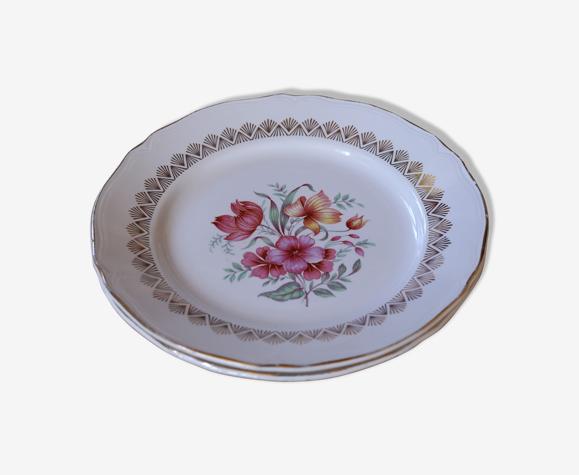 Set de 2 assiettes plates fleuries liseret doré vintage