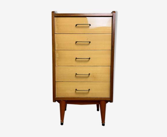 Commode semainier 5 tiroirs vintage acajou vernis, années 60