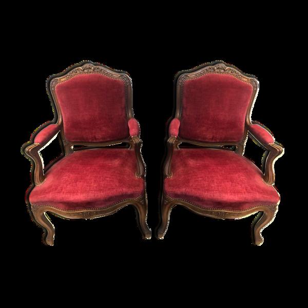 Paire fauteuils style Louis XV du XIX eme
