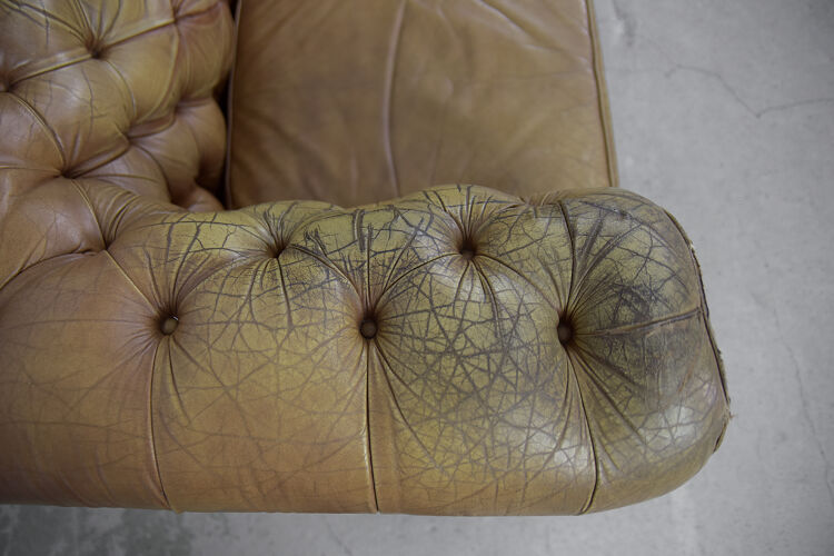 Brown leather chesterfield sofa, 1970s