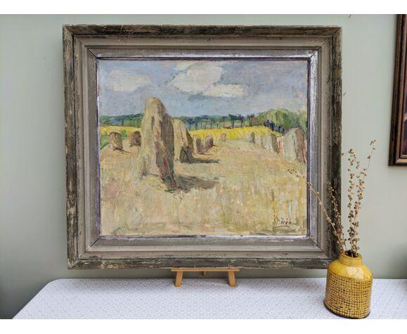 'Wheatfields' - Large Vintage Mid Century Framed Oil Painting