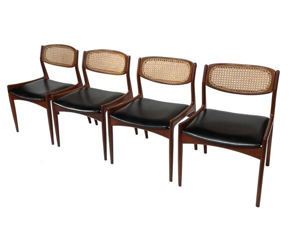 Ensemble de quatre chaises en teck par Ib Kofod Larsen design danois