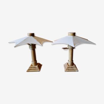 """Paire de lampes """"parasol""""en bambou et rotin"""